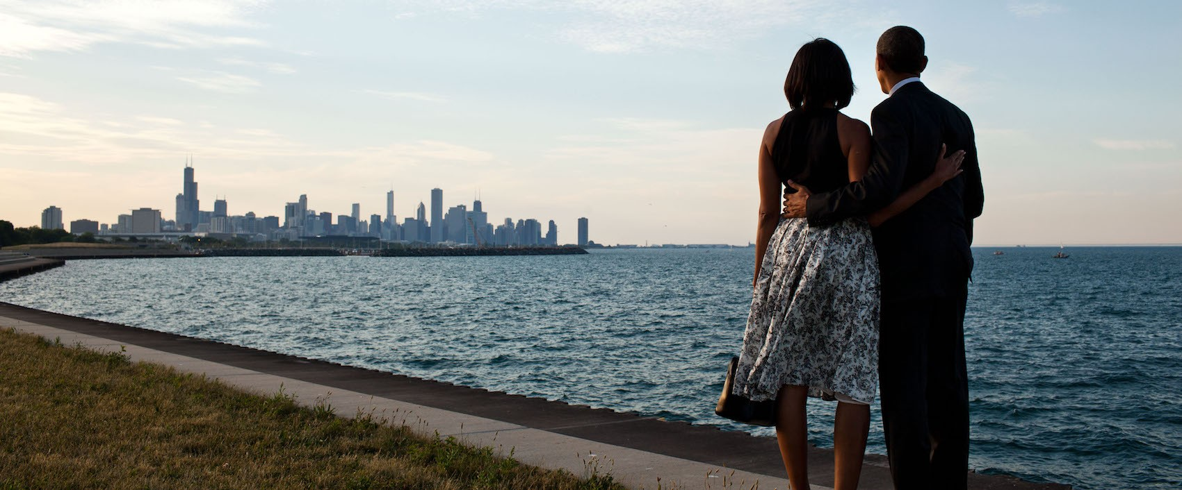 President Barack Obama and First Lady Michelle Obama look out at the Chicago, Ill., skyline, June 15, 2012.