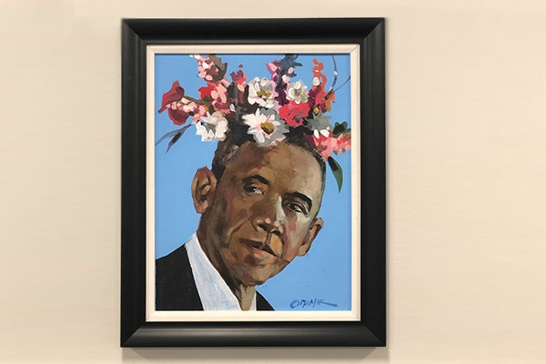 A painting of President Obama with flowers coming out of his head