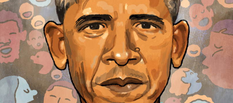 Artistic portrayal of Obama's face in front of a background of colorful talking heads and faces.